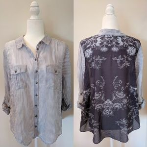 Free People Sheer Cotton Button Up Blouse